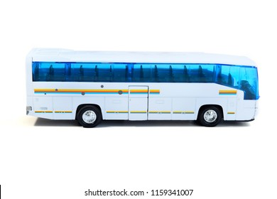 Bus toy isolated on white background, selective focus.