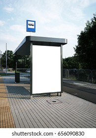 Bus tram stop, shelter, white empty place for street ads, advertisement board, mock up, mockup, signage, city, rails, rail station
