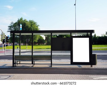 Bus tram stop, shelter, white empty place for street ads, advertisement board, mock up, mockup, signage, bus stop, city, glassy shelter.
