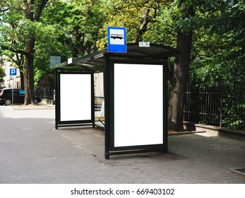 Bus tram stop, shelter, white empty place for street ads, advertisement board, mock up, mockup, signage, bus stop.