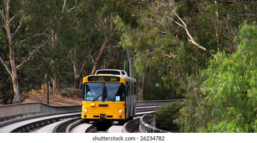 Bus traveling at high speeds on the O-bahn Track, Adelaide, Australia