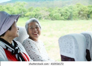bus trip, elderly woman