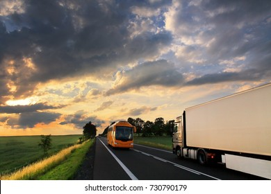 Bus and Truck transportation at sunset