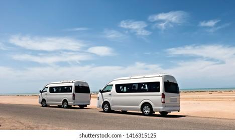 Bus white Car Pick-up rental parking desert. journey traveling road travel concept landscape.