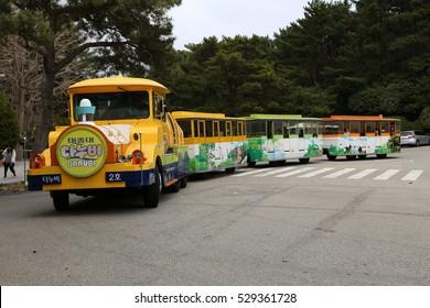 BUSAN - 4 APR: Mini Train in Taejongdae Park in Busan, Korea on 4 April 2016