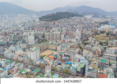 Busan, APR 2: Aerial view of the Busan cityscape from Busan Tower on APR 2, 2014 at Busan, South Korea