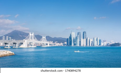busan city and Gwangan bridge and fisherman's boats, Haeundae, Busan,Korea. - Shutterstock ID 1740894278
