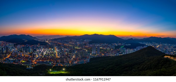 Busan City Panorama and Downtown skyline in Busan, South Korea