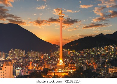 Busan city skylight and Busan tower at night in Korea.