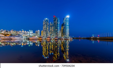Busan city skyline view at Haeundae beach, Haeundae District, Busan, South Korea.