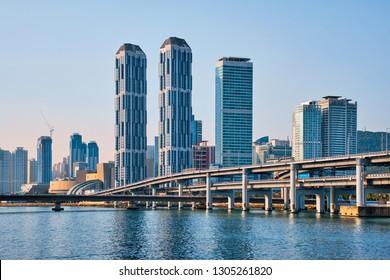 Busan city skyscrapers and Gwangan Bridge, South Korea