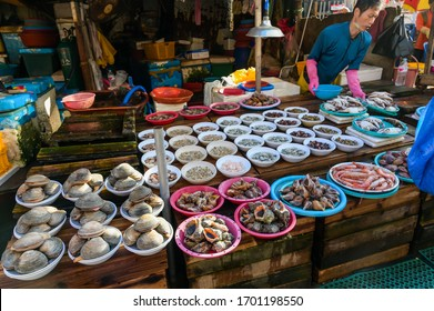 Busan city, South Korea - OCT 31, 2019: :Jagalchi Fish Market in Busan, South Korea. Sea food is most popular food in Busan korea.