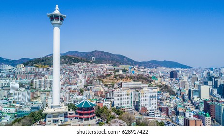 Busan city with busan tower, Busan, South Korea.