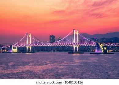 Busan city,Busan haeundae beach and gwangan bridge at night,South Korea