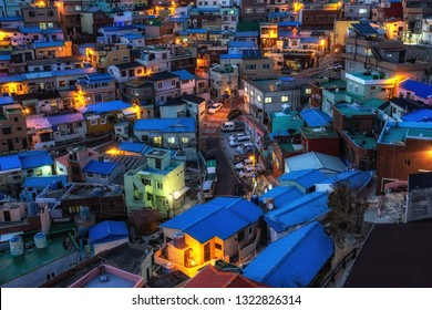 busan gamcheon cultural village night view. Houses built in staircase-fashion on the foothills of a coastal mountain. Taken on February 13th 2019