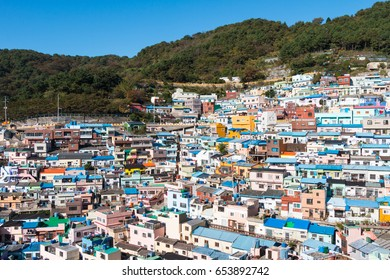 Busan Gamcheon Culture Village, colorful and lovely village in South Korea with green mountain and clear blue sky as background
