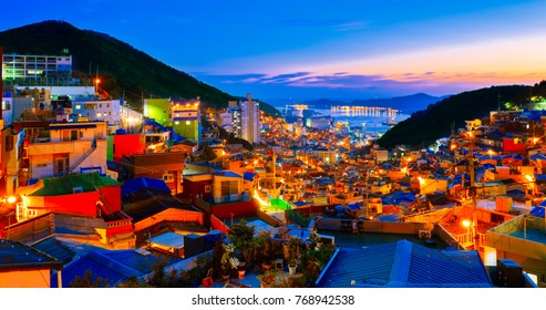 busan gamcheon culture village sunset cityscape