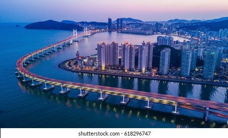 Busan Gwangandaegyo Bridge or Diamond Bridge at Gwangalli Beach, Haeundae aerial view at twilight, Busan, South Korea.