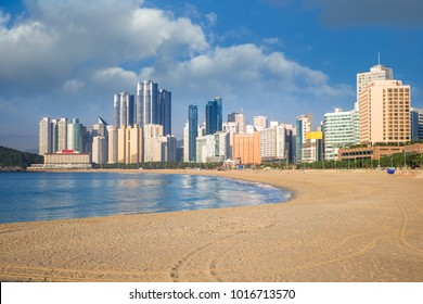 Busan haeundae beach, long sand beach and wave of sea for Korean relax and sport in summer, Busan city, South Korea