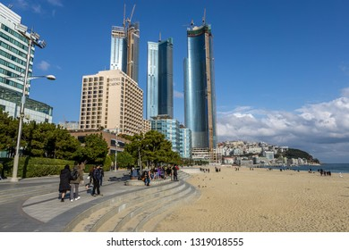 Busan Haeundae beach view in Busan, South Korea. Haeundae is a famous beach district in Busan. Taken on February 14th 2019