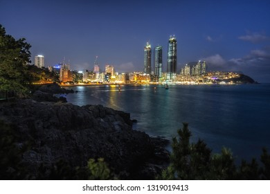 Busan Haeundae coastal beach night view in Busan, South Korea. Haeundae is a famous beach district in Busan. Taken on February 14th 2019