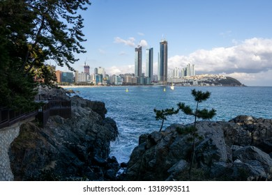 Busan Haeundae coastal beach view in Busan, South Korea. Haeundae is a famous beach district in Busan. Taken on February 14th 2019