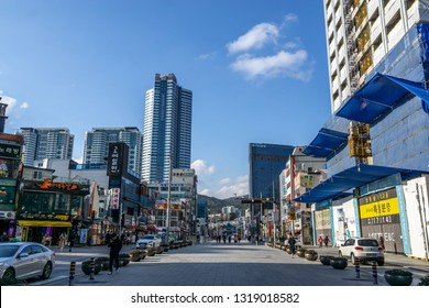 busan haeundae shopping street with various restaurants and shops along the road. Taken in Busan, South Korea. February 14th 2019