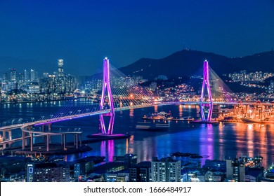 Busan Harbor Bridge - Busan City Night View