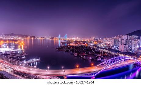 Busan harbor bridge at night. Busan Port, South Korea.  - Shutterstock ID 1882741264