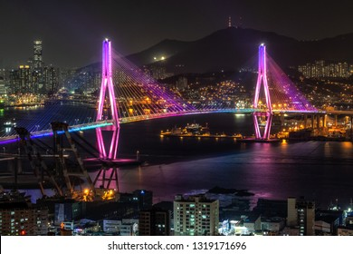 Busan harbor bridge is one of famous bridges in south korea. Connecting Yeongdo and Nam district, the bridge lits up at night in different colors. Taken in Busan, South Korea