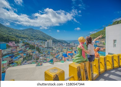 "Busan, Korea, August 30, 2018: The Little Prince in the Gamcheon Culture Village. nickname of ""Machu Picchu of Busan."