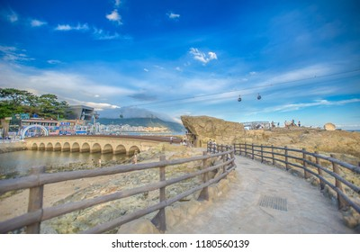 Busan, Korea, August 30, 2018: Songdo skywalk at songdo beach in Busan City