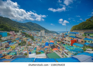 "Busan, Korea, August 30, 2018: Gamcheon Culture Village. nickname of ""Machu Picchu of Busan."