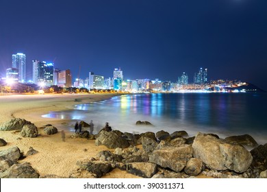 Busan, Korea - January 21, 2016: Night view of Haeundae beach. Haeundae beach is Busan's most popular beach because of its easy access from downtown of Busan and the beautiful beach.