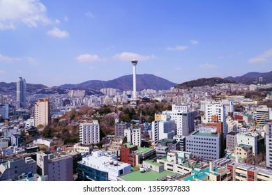 Busan, Korea- March 31, 2019: Cityscape of Busan, view on Busan Tower