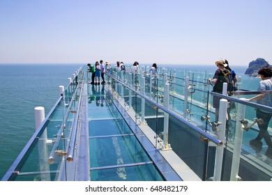 Busan, Korea - May 19, 2017: Oryukdo skywalk is transparent skywalk to see Oryukdo islands in Busan, Korea. Oryukdo means five-six island