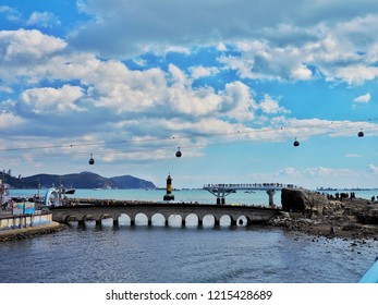 Busan, Korea, October 27, 2018: Songdo skywalk at songdo beach in Busan City,The longest skywalk on the water
