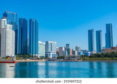 BUSAN, KOREA, OCTOBER 30, 2019: Skyscrapers of Marine city in Busan, Republic of Korea