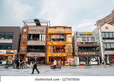 Busan, Korea - September 23, 2018 : Haeundae beach restaurant street