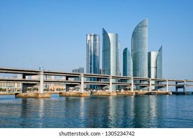 Busan Marine city skyscrapers and Gwangan Bridge, South Korea