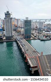 Busan Metropolitan City, Busan / Korea - October 20 2019: Yeongdodaegyo Bridge rasied for ships to pass