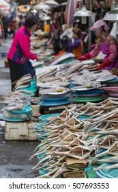 BUSAN - OCTOBER 27, 2016: Fresh fish and seafood at Jagalchi Fish market, Busan, South Korea.