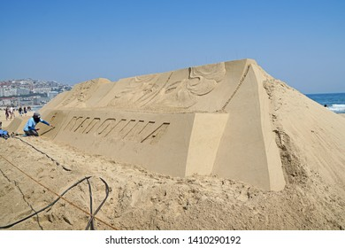 """Busan / Republic of Korea - May 24, 2019 : Sand sculptures """"Madonna & Beyonce"""" created by artist """"Karen Fralich"""" at Haeundae Sand Festival 2019 takes place at the sunny beaches of Busan."""