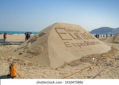 "Busan / Republic of Korea - May 24, 2019 : Sand sculptures ""Busan-Berlin, Eurasia Expedition"" at Haeundae Sand Festival 2019 takes place at the sunny beaches of Busan."