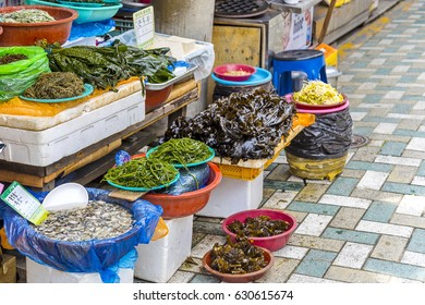 Busan, South Korea - 22 April, 2017: Local Products in Haeundae Market is located near to the sea has a variety of fish on sale alongside meat, fruit, clothes and many other things.