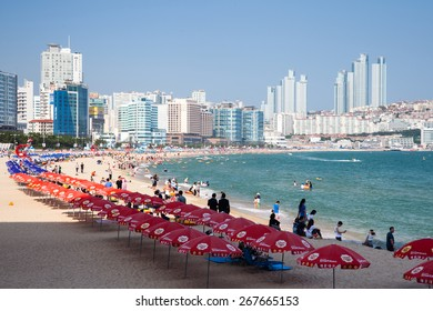 Busan, South Korea - 22 August 2014: The view of Haeundae beach one of the popular beaches of Busan Metropolitan City on 22 August 2014 in Busan, South Korea.