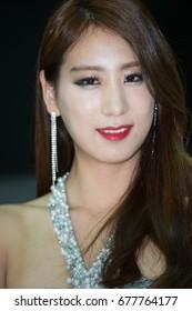 Busan, South Korea - 8 June 2014:  South Korean model at an international car show.