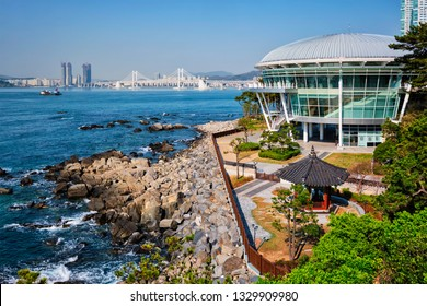 BUSAN, SOUTH KOREA - APRIL 13, 2017: Nurimaru APEC House on Dongbaek island  and Gwangan bridge in Busan, South Korea