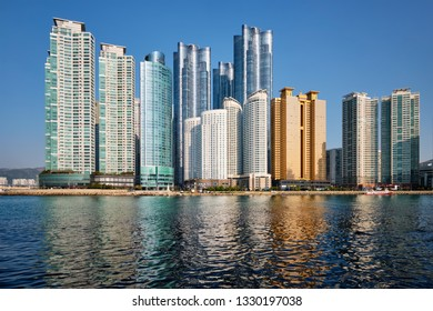 BUSAN, SOUTH KOREA - APRIL 13, 2017: Marine city expensive and prestigious residential area skyscrapers in Busan, South Korea