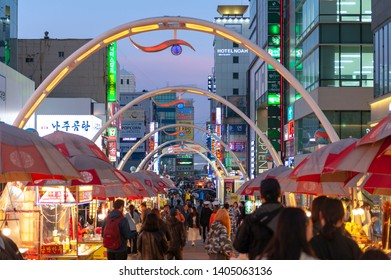 Busan, South Korea - April 2019: Busan International Film Festival (BIFF) Square, famous cultural tourist attraction with street food stalls and shops along the way in Nampodong, Busan, South Korea